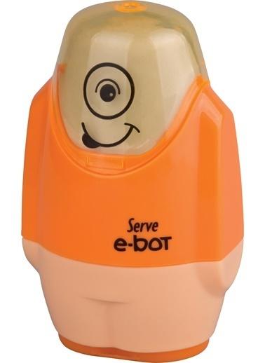 Serve E-Bot Silgili Kalemtıraş Fosforlu Turuncu Renkli